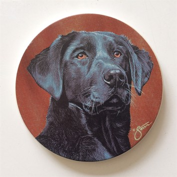 Glasbrikker - Coasters Sort labrador 4 stk.